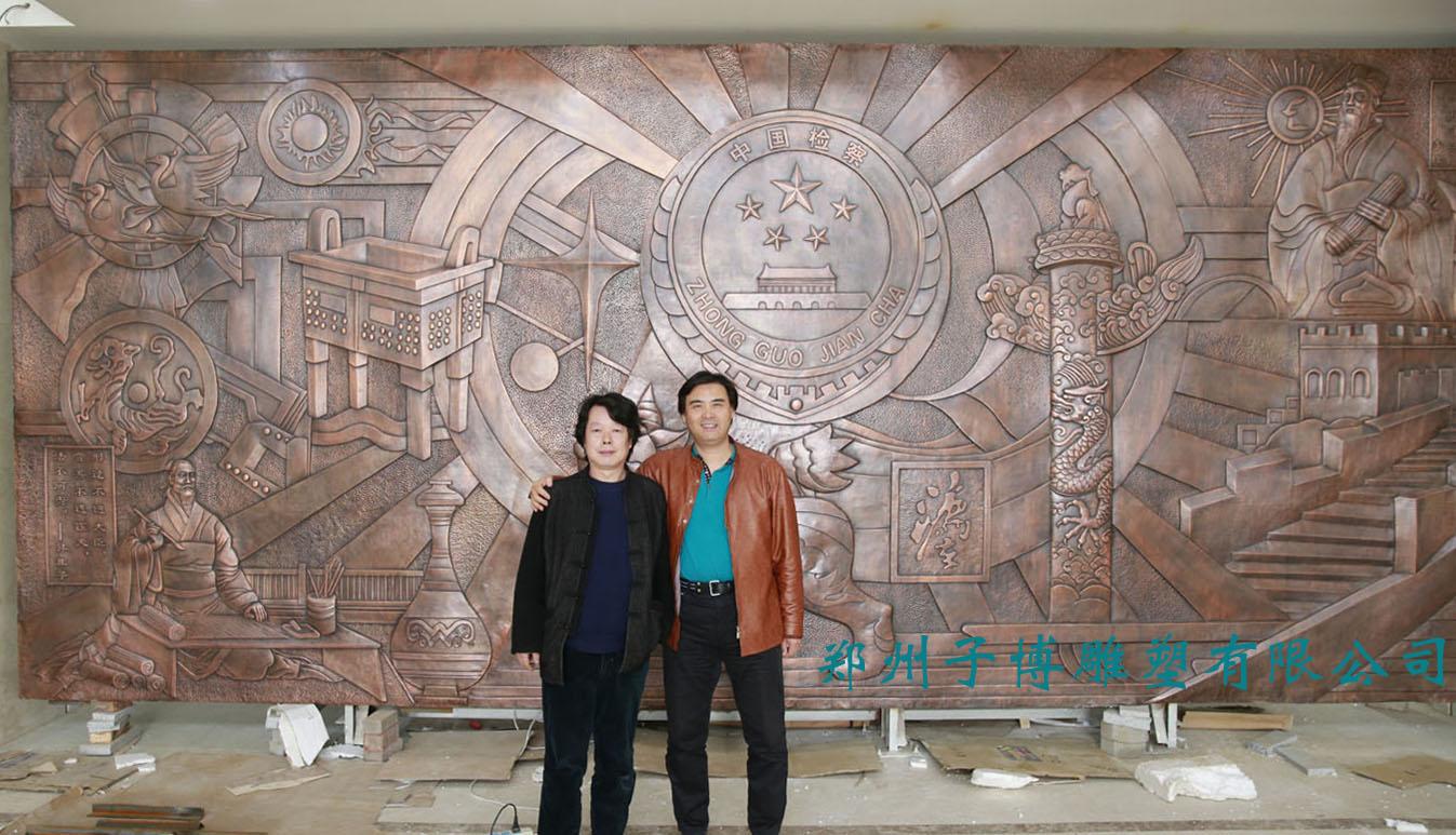 郑州子博雕塑有限公司  产品说明: 廉政雕塑,天津东丽检察院锻铜浮雕